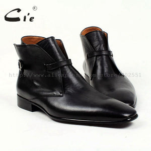 Solid pebble grain black calf leather boot 100%genuine leather