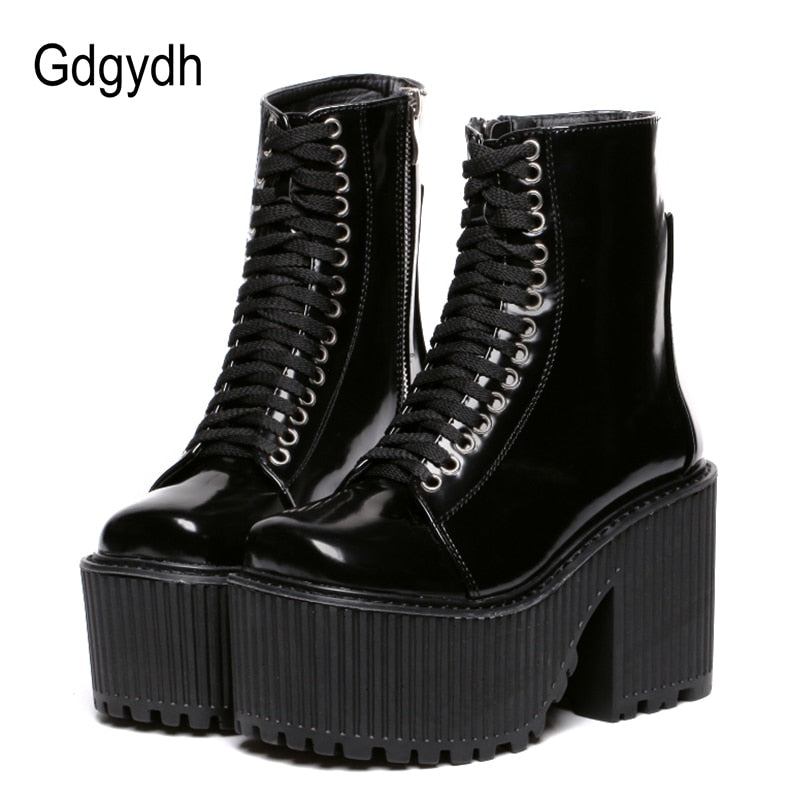 Gdgydh Fashion Ankle Boots For Women Platform Shoes Punk Gothic Style Rubber Sole Lace Up Black Spring Autumn Chunky Boots Woman