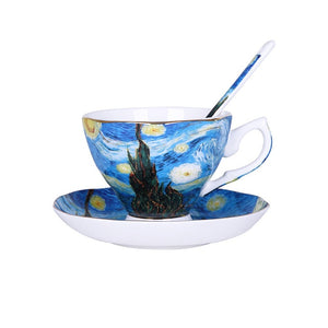 Van Gogh Art Painting Coffee Mugs The Starry Night, Sunflowers, The Sower, Irises Saint-Remy Coffee tea cups
