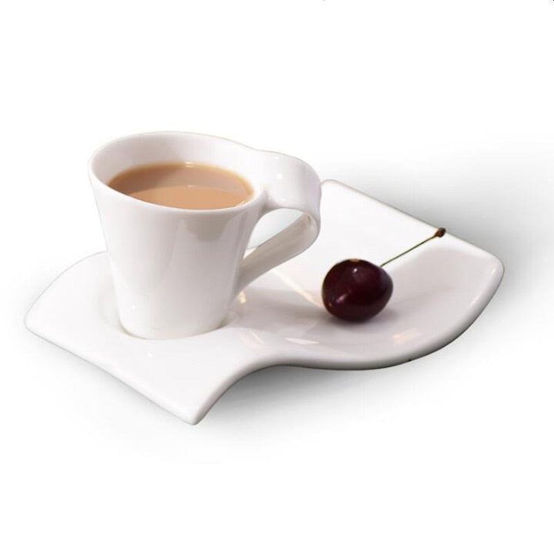 The latest European white ceramic bone china coffee cup milk cup creative wave coffee cup
