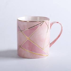 Handpainted Gold Stripe Marble Porcelain Coffee Mug Cup With Lid Set Tea Milk Ceramic Cups and Mugs Creative Wedding Gift