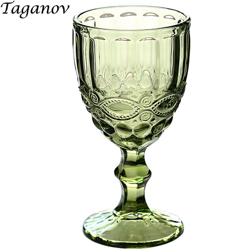 Kitchen Dining Bar Drinkware Red Wine Glasses Wedding Party Cup Transparent 240ml 300ml Goblet Decorations Anaglyph Vintage Gift