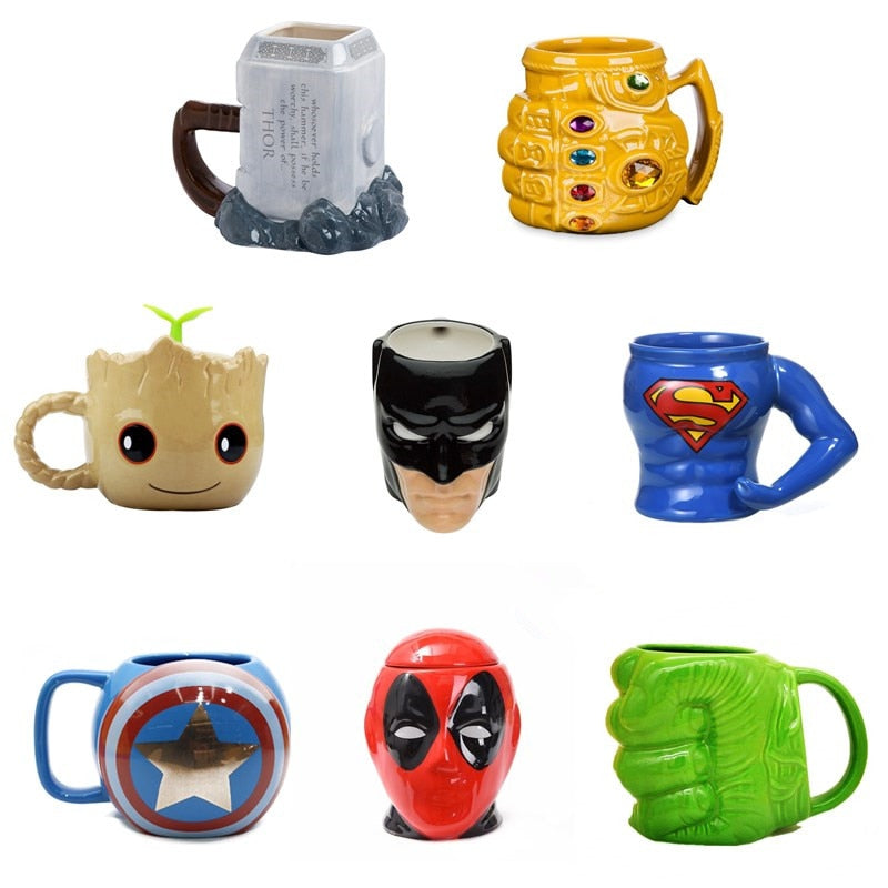 Marvel Coffee Mugs Avengers Tea Cups and Mugs Batman Thor Super Man Iron Man Hulk Spider Man Captain America Ceramic Mark Drink