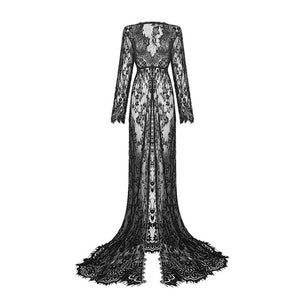 Rosetic Women Long sleeve V Neck Lace Mesh Gothic Vintage Floor Length Elegant Floral Holiday Split Maxi