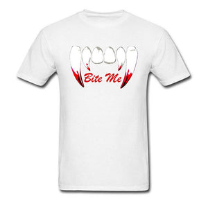 Vampire Twilight Buffy Bite Me Tooth New T Shirt Bloodiness Ghost Gothic Black Tshirts For Men Oversized Filme Custom Clothes