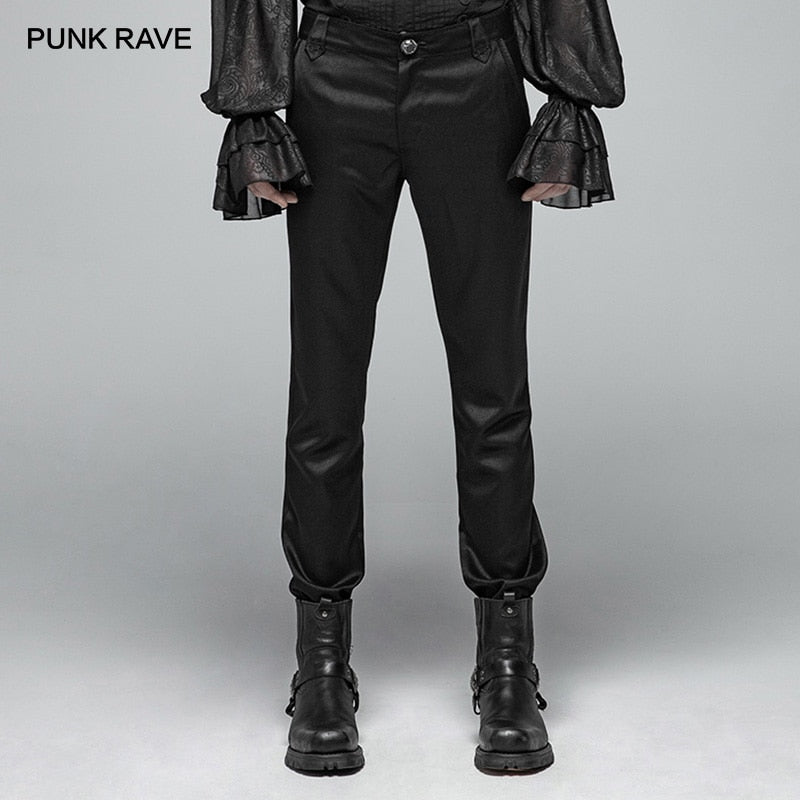 PUNK RAVE Men's Black Gothic Formal Simple Non-stretchy Trousers Party Club Performance Embroidery Pants Men Punk Streetwear