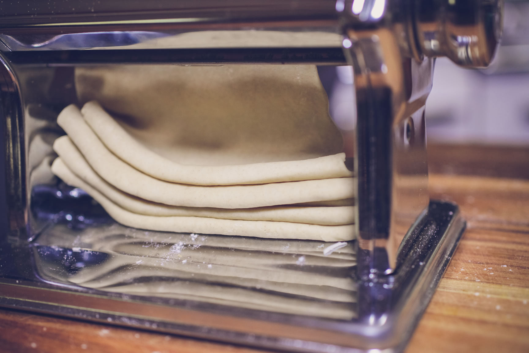 pass through pasta machine on thin setting