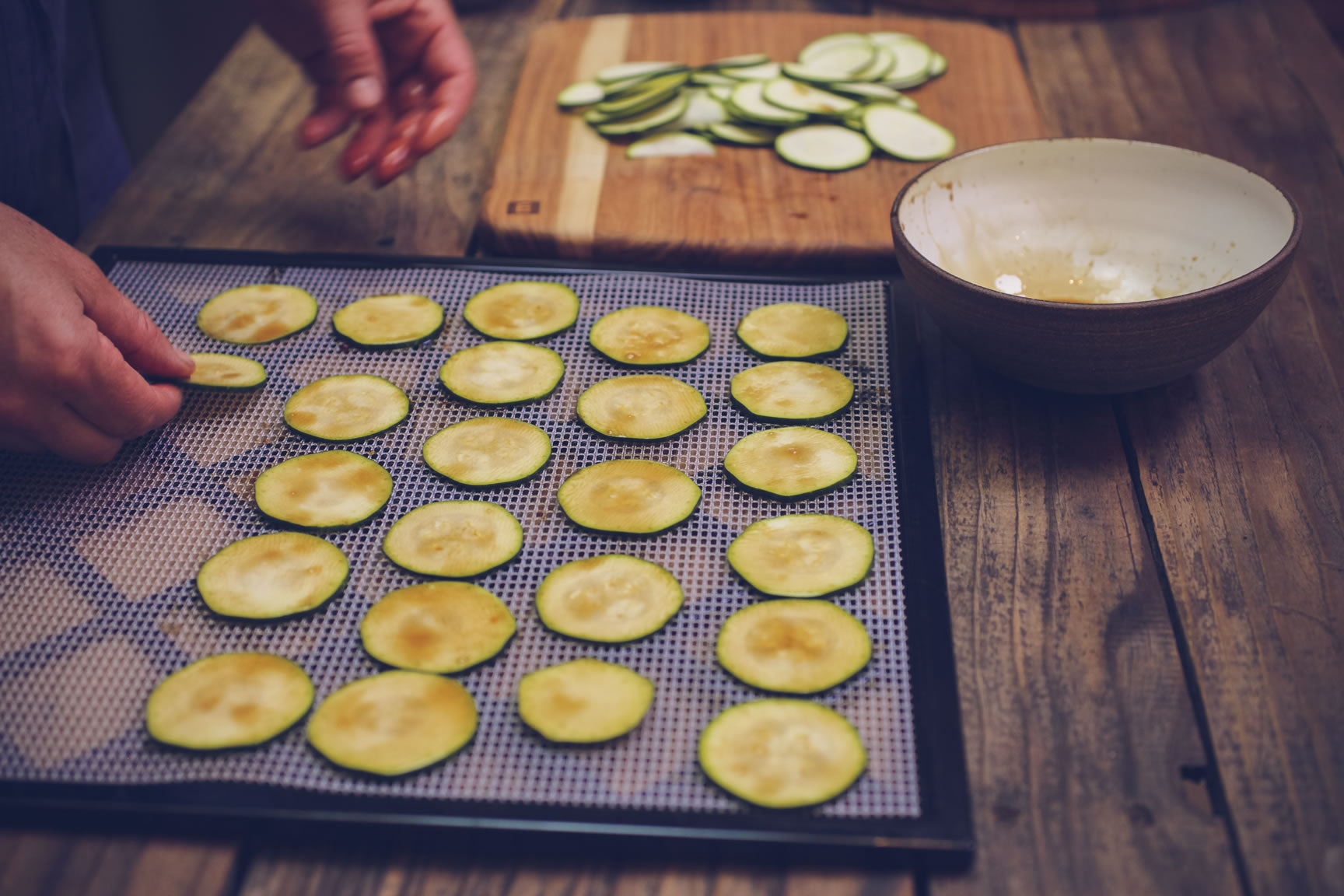 Zucchini chips recipe for food dehydrator mountain feed farm supply in a dehydrator spread the raw slices over trays dehydrate at 120f until the zucchini are as crispy as potato chips about 12 18 hours forumfinder Images