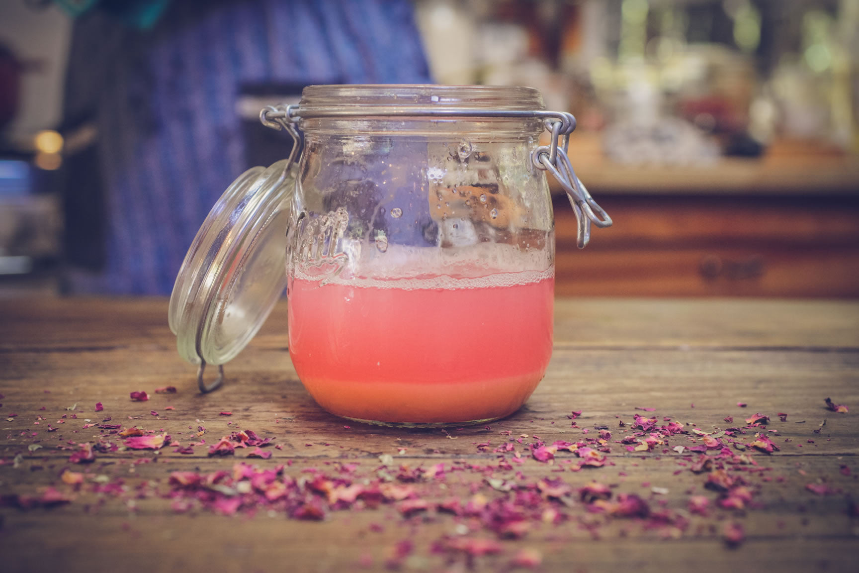 strained syrup rose