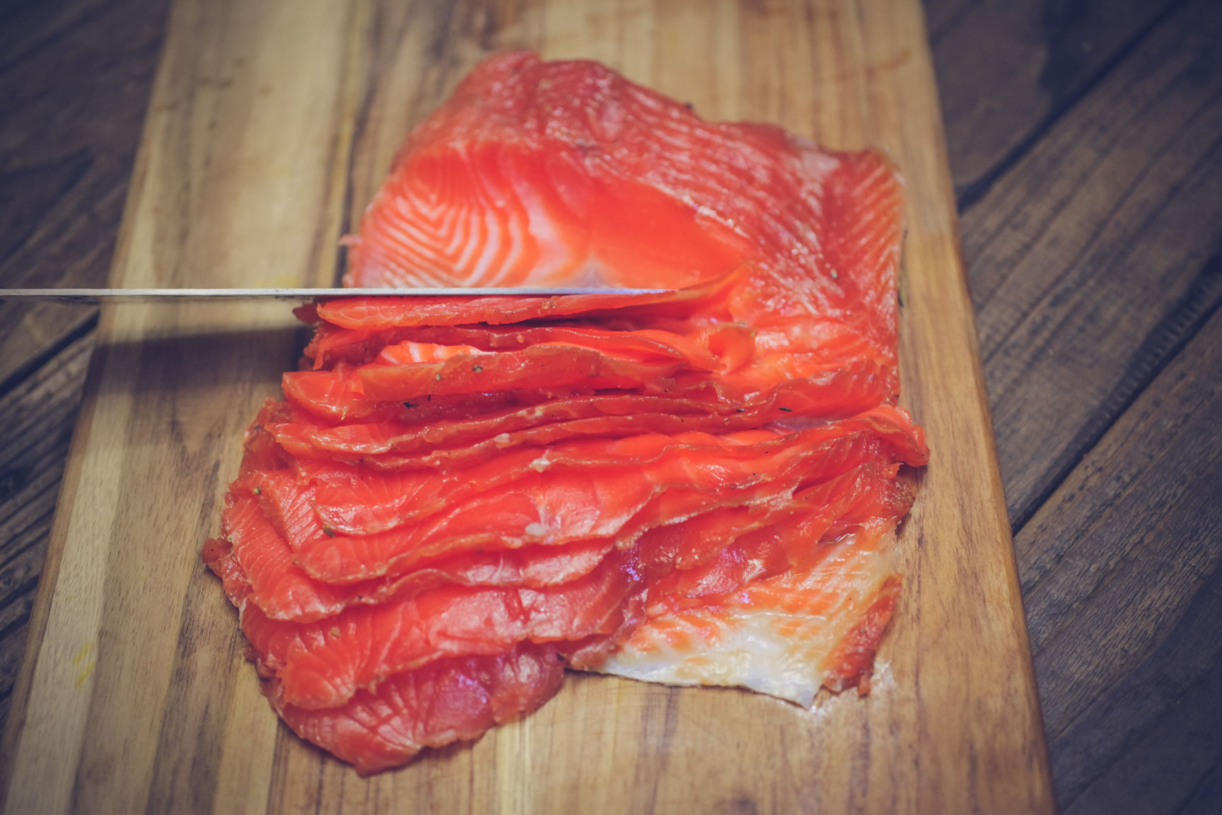 thinly sliced cured fish