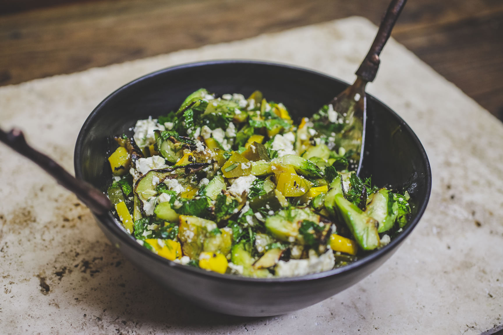 grilled squash with herbs and feta