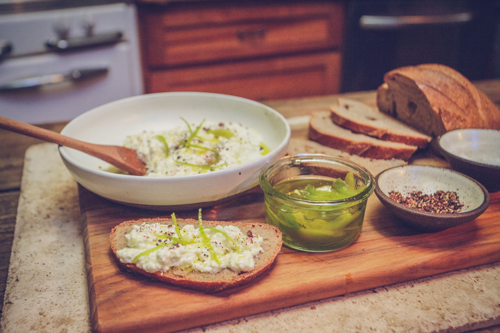 farmhouse ricotta with lime oil