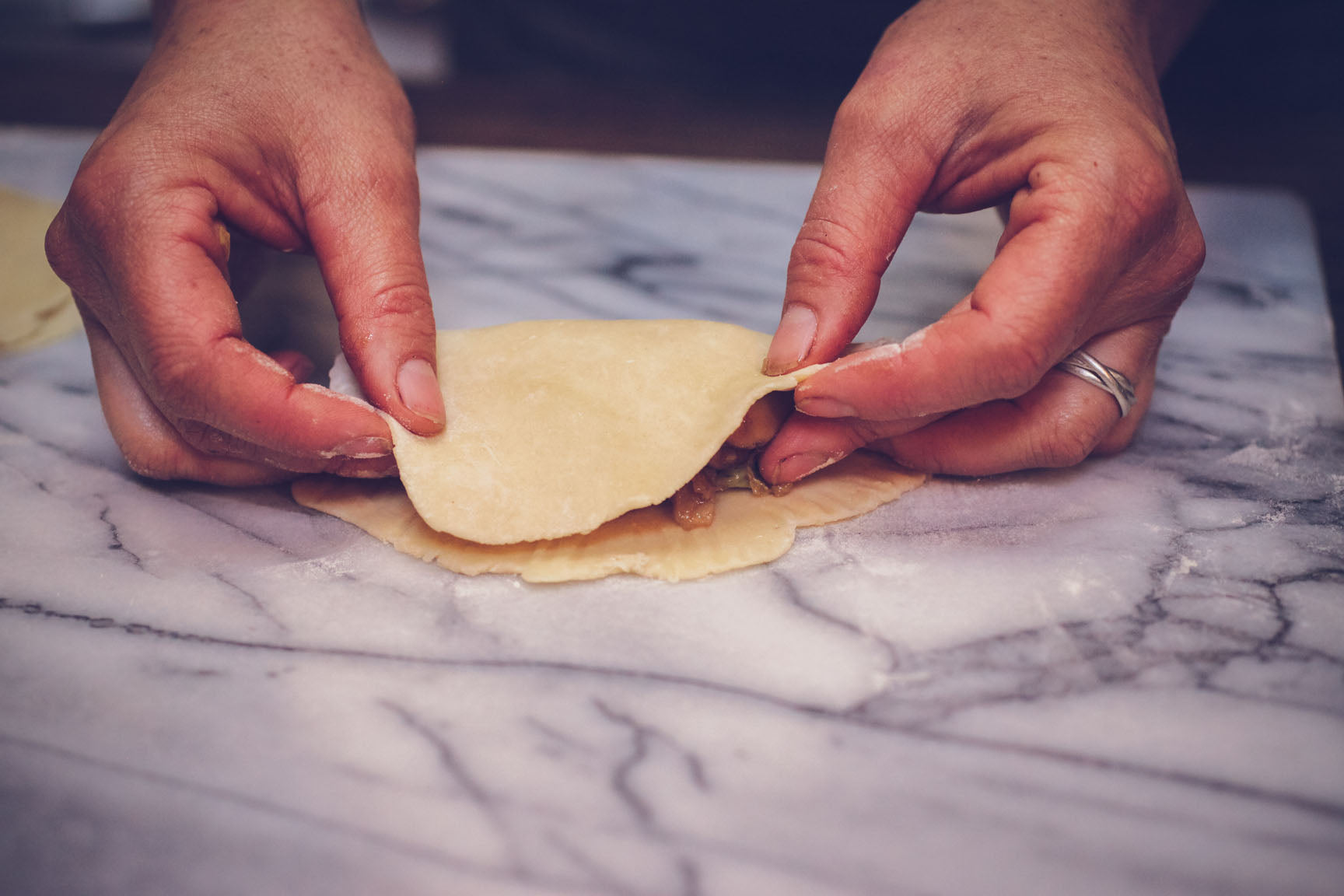 fold over dough to a cresent