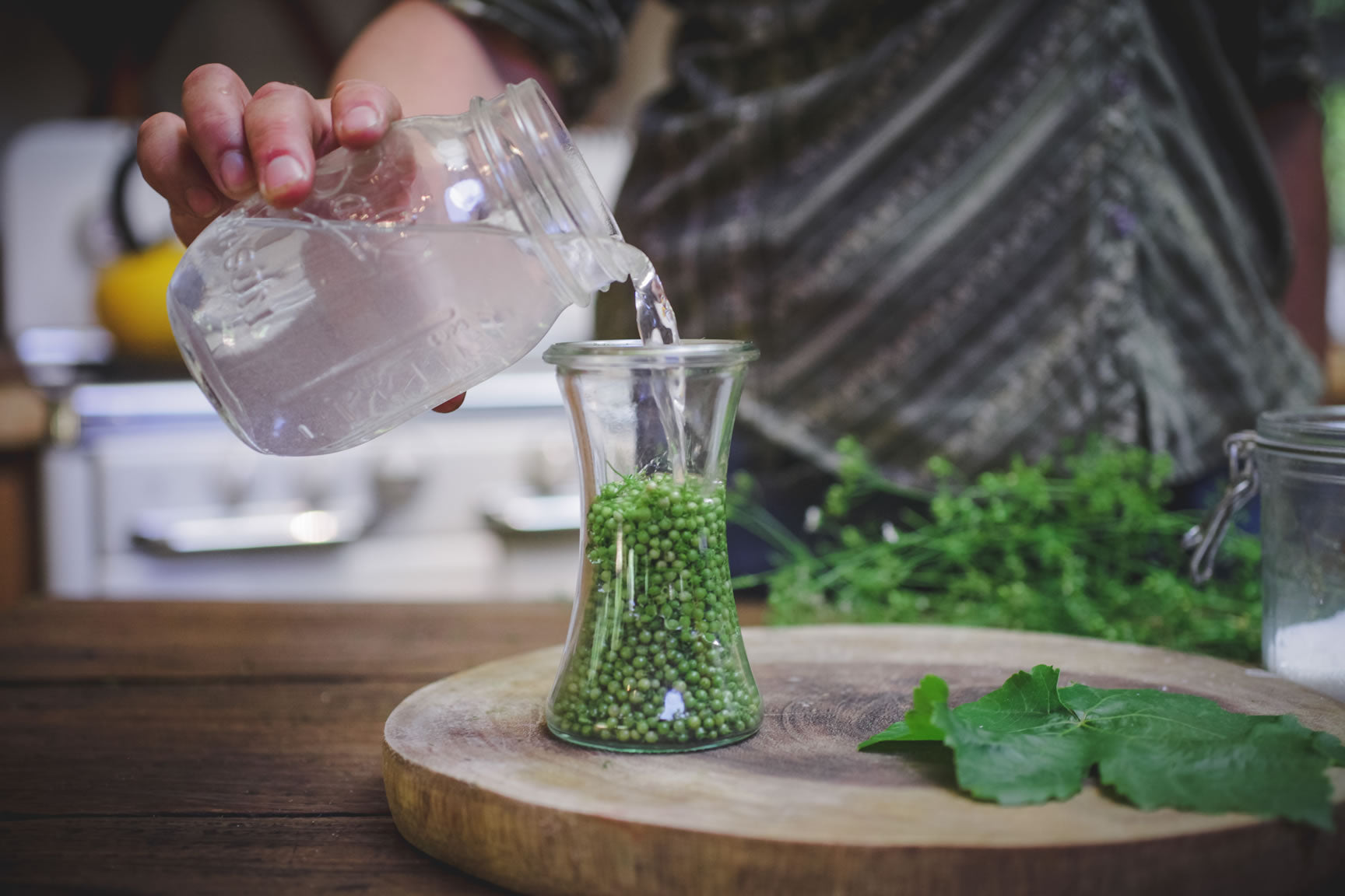 pour brine over seeds