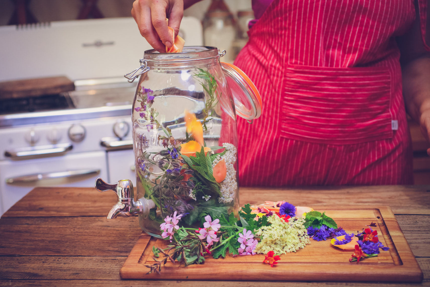 place herbs in jar