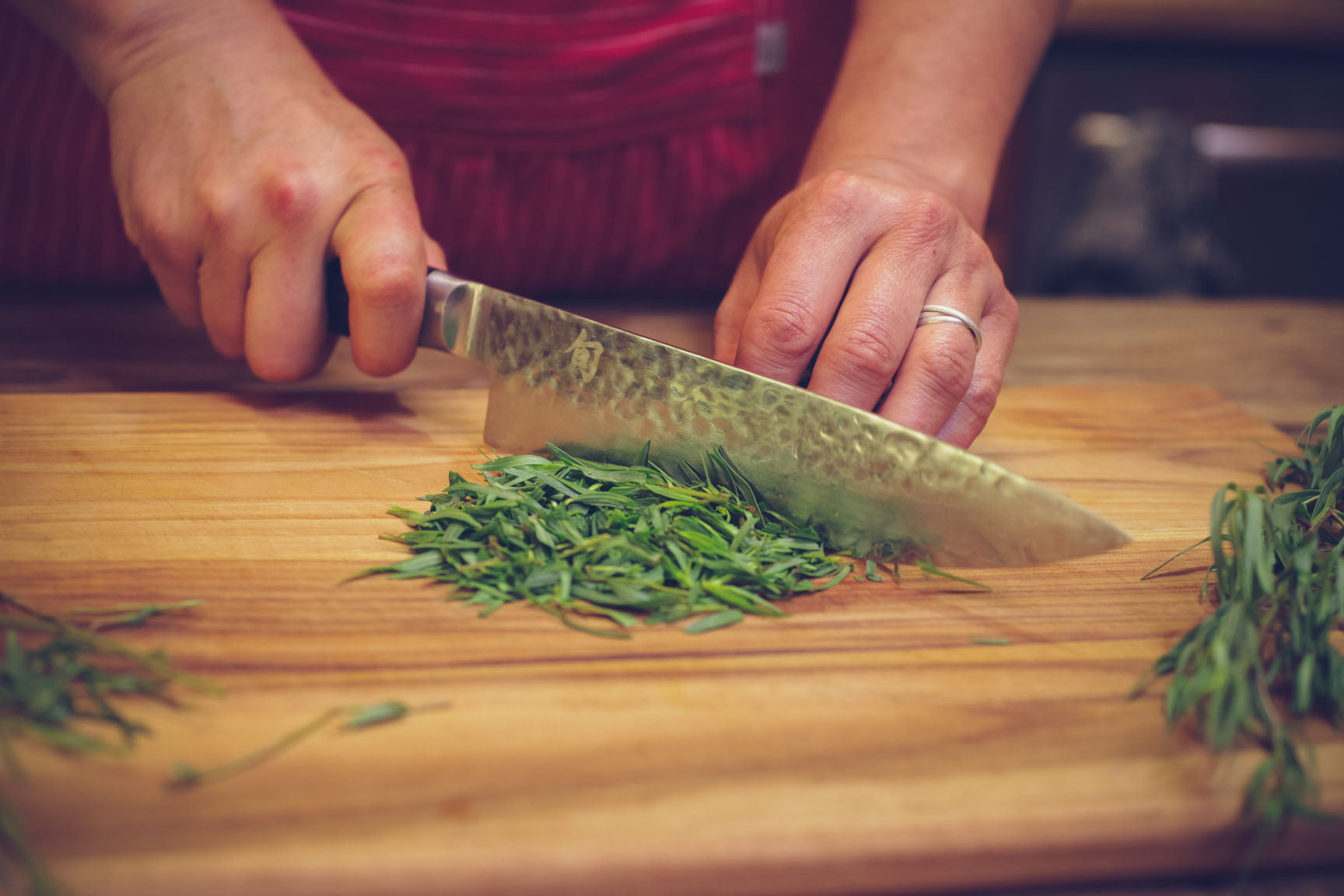 chop tarragon leaves