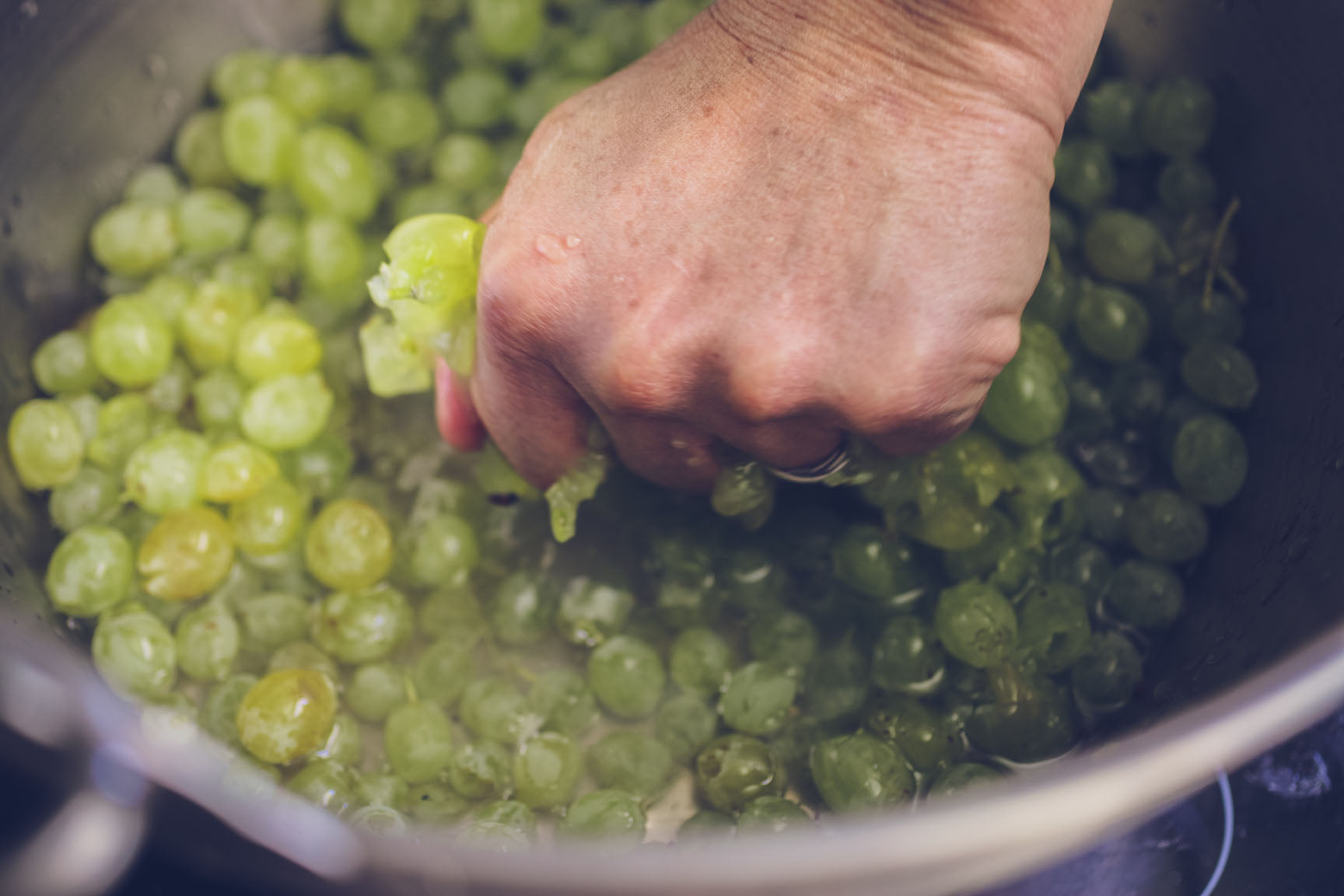 crush the grapes by hand