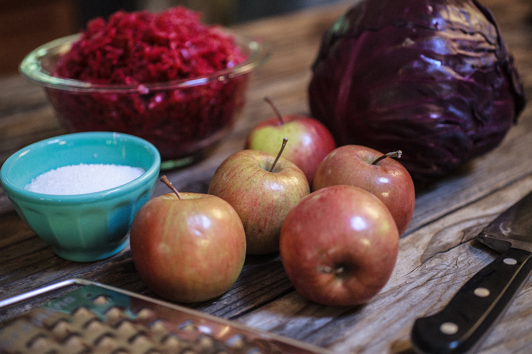 Fermented purple cabbage apple kraut recipe color on your counter mountain feed farm supply - Appel krat ...