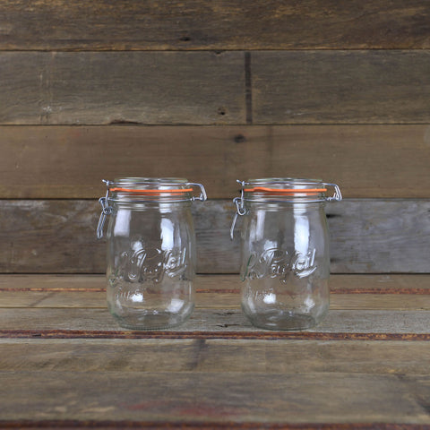 Le Parfait Canning Jars - 1 Liter Metal Clamp Top Jars - #910754 - Set of 2 - Canning Equipment
