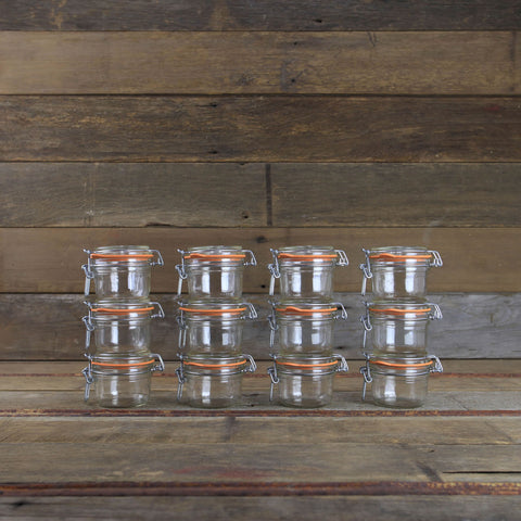 Le Parfait Canning Jars - 4oz Metal Clamp Top Jars - #908514 - Set of 12 - Canning Supplies