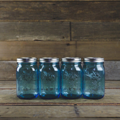 Ball Elite Blue Wide Mouth Quart Canning Jars - Set of 4 - Home Canning Supplies