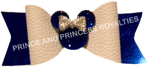 Blue Glitter and White W/Minnie