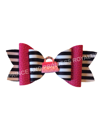 Black/White Stripe w/ Pink Purse