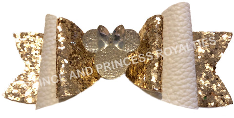 Gold Glitter and White W/Minnie