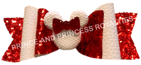 Red Glitter and White w/ Minnie