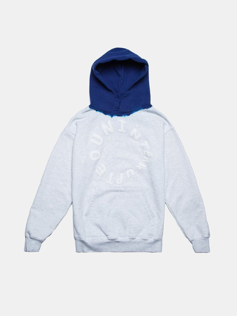 WARPED LOGO SUMMIT DIP DYED HOODIE HEATHER GREY/UN BLUE