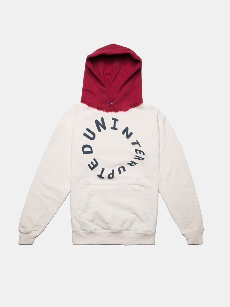 WARPED LOGO SUMMIT DIP DYED HOODIE GHOST WHITE/RED