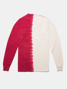 WARPED LOGO LS MULHOLLAND DIP DYED TEE GHOST WHITE/RED