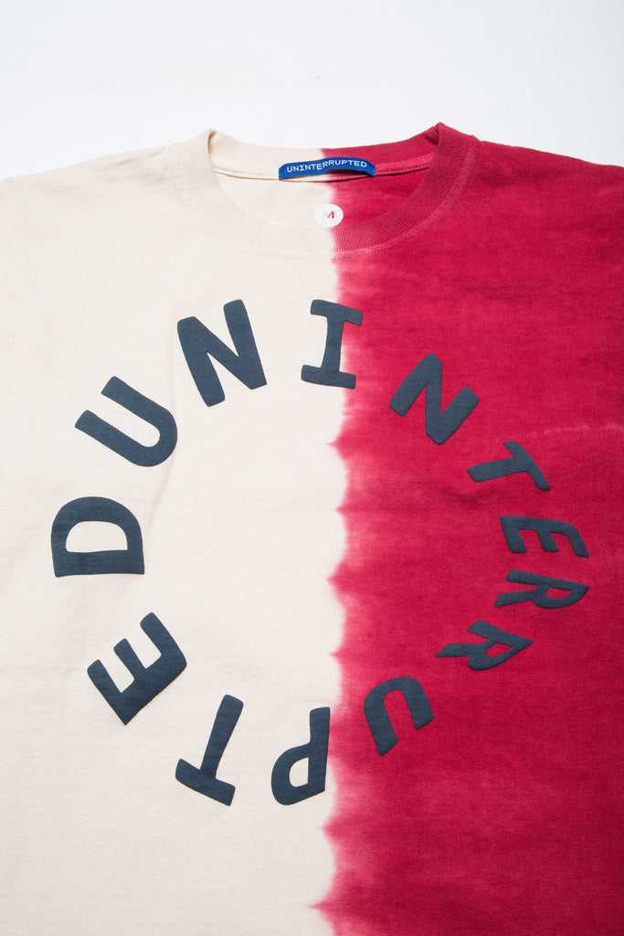 WARPED LOGO LS MULHOLLAND DIP DYED TEE GHOST WHITE/RED (4495517909072)
