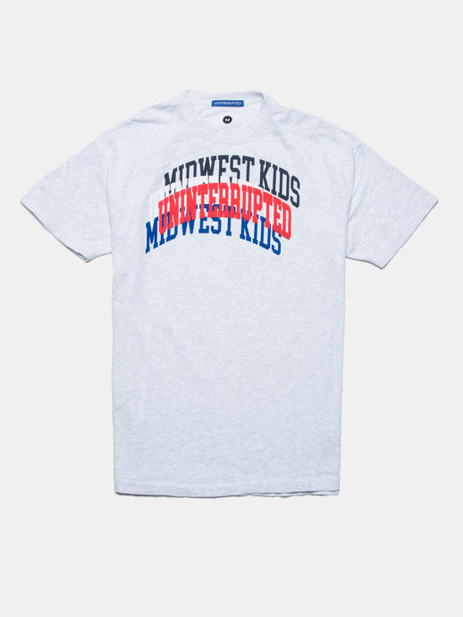 UNINTERRUPTED X MIDWEST KIDS ARCH LOGO VENICE TEE HEATHER GREY
