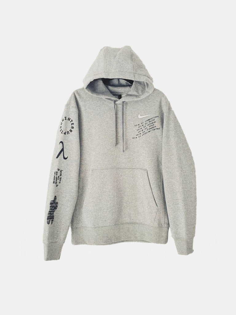 LOVE IS UNINTERRUPTED HOODIE HEATHER GREY