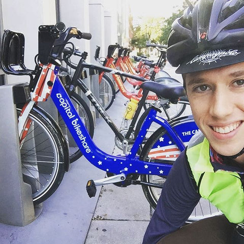 Rider capturing photo with GO vote bicycle in washington dc