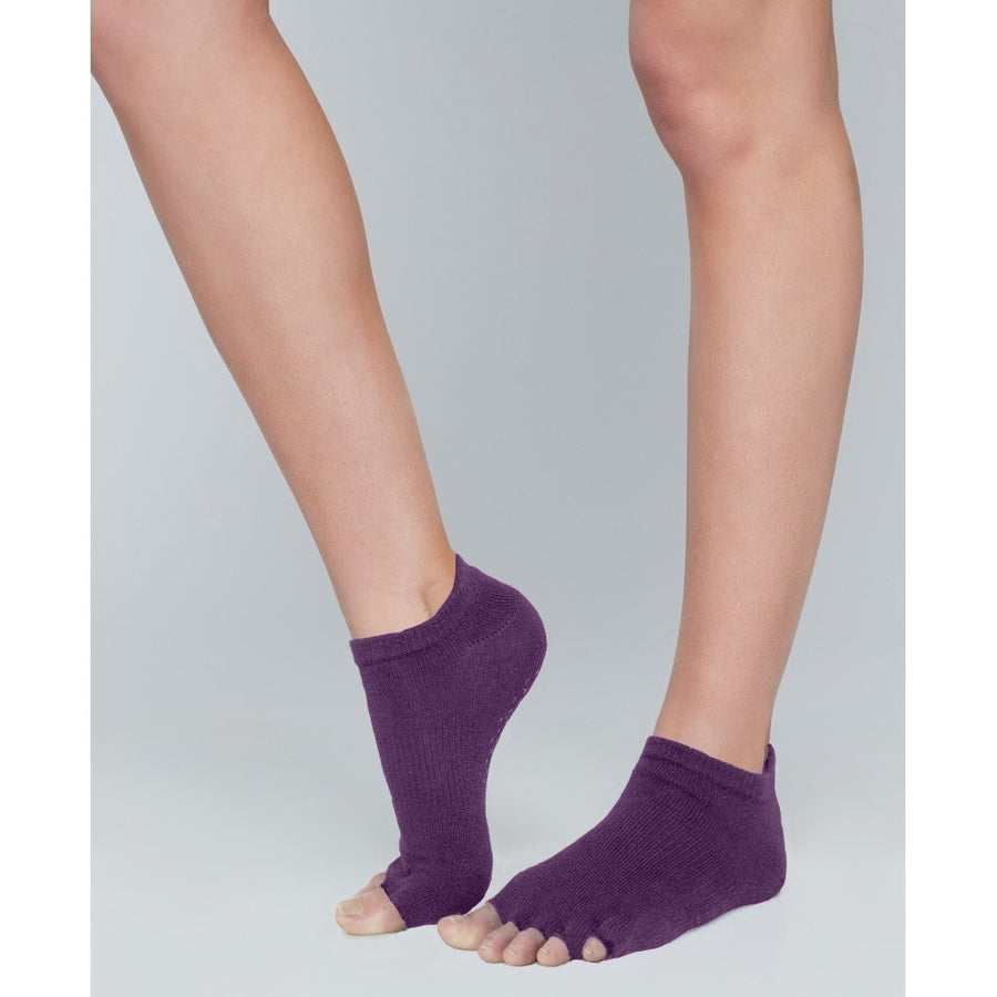 Moonchild Grip Socks Open Toe - Low Rise Blackberry