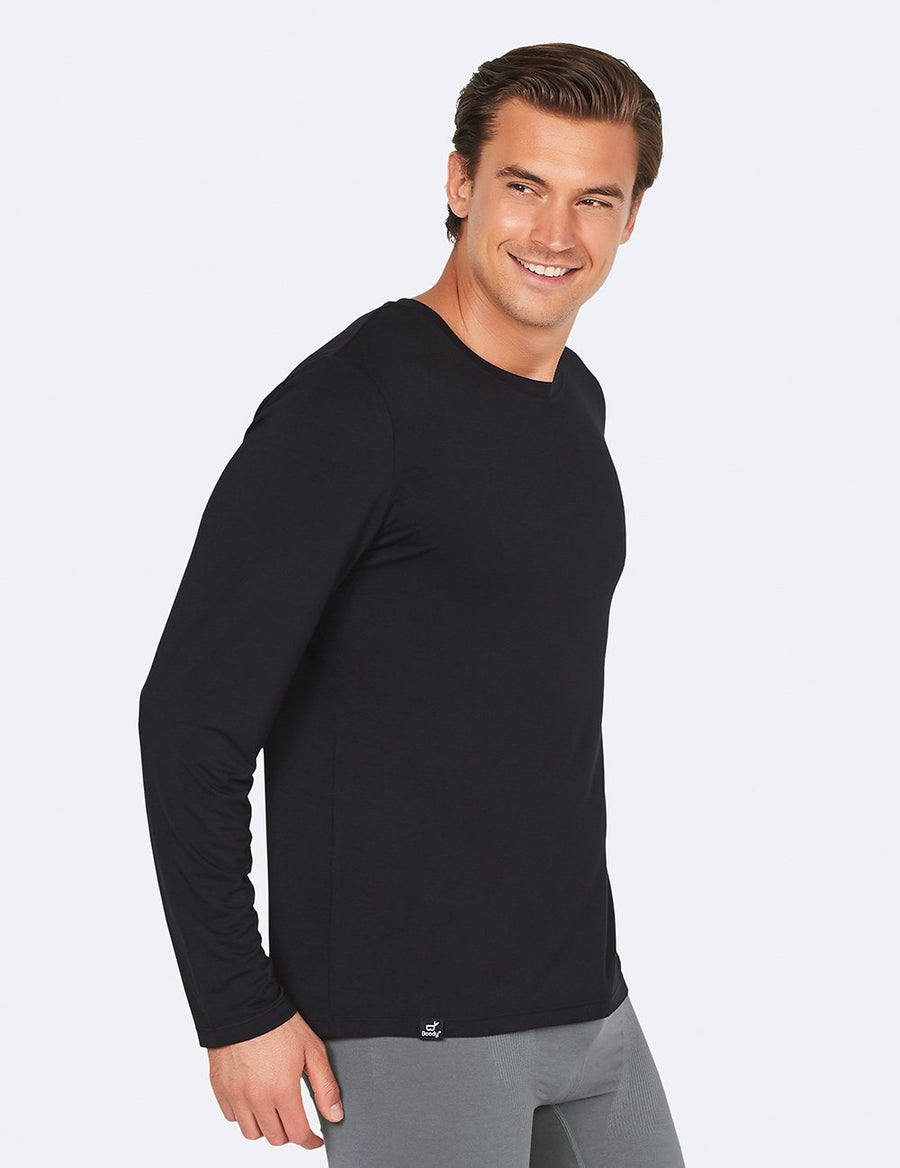 Boody - Men's Long Sleeve Crew Neck T-Shirt - Black - goyogi.dk