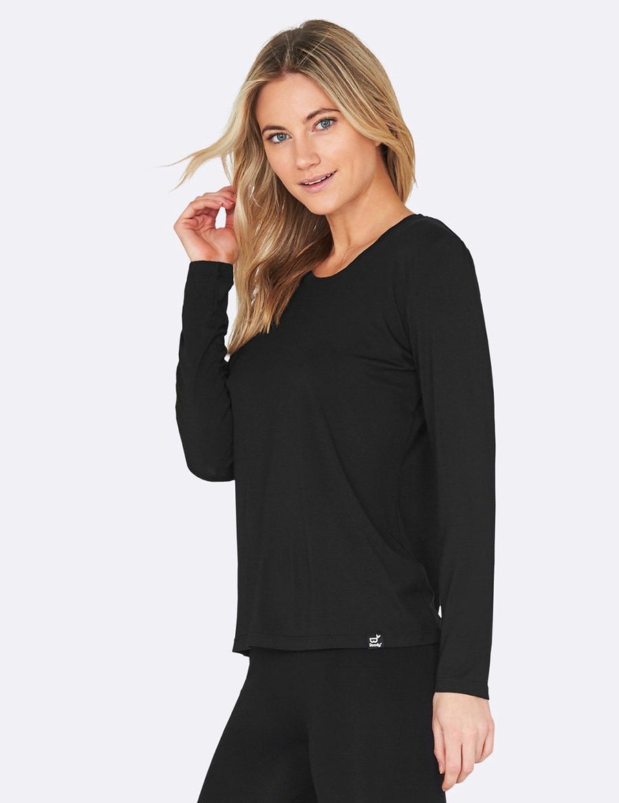 Boody - Bambus Long Sleeve Round Neck T-shirt - Black - goyogi.dk