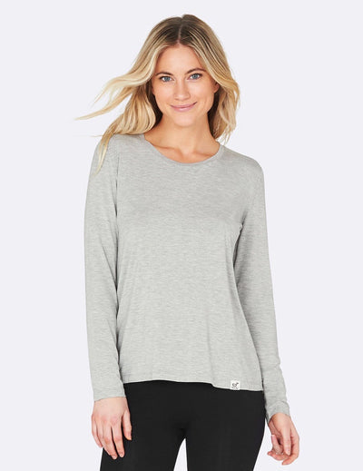 Boody - Bambus Long Sleeve Round Neck T-shirt - Light Grey Melange - goyogi.dk