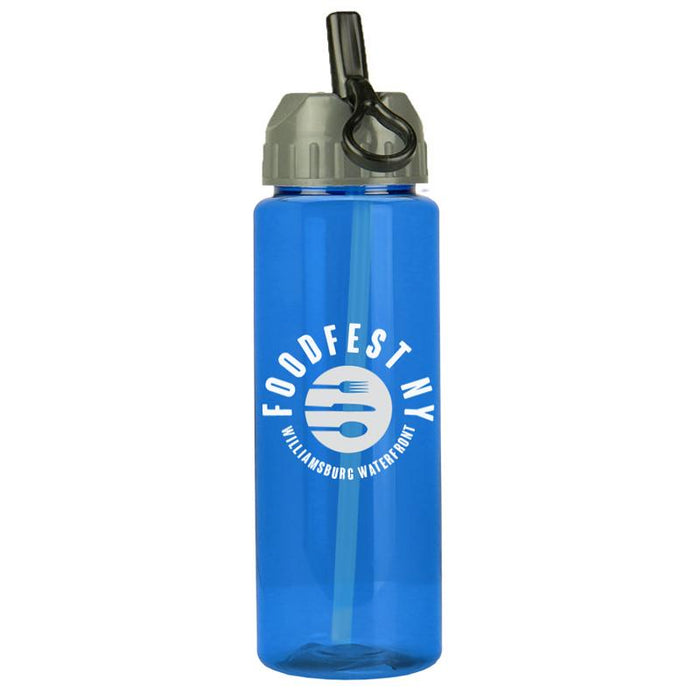 32 oz The Guzzler Transparent Bottle w/ Flip Straw Lid ,[wholesale],[Simply+Green Solutions 427]