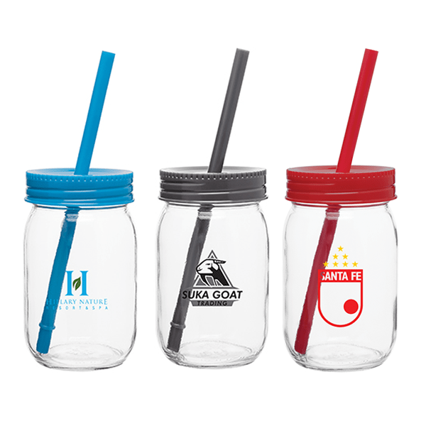 16 oz Glass Mason Jar w/Color Lid