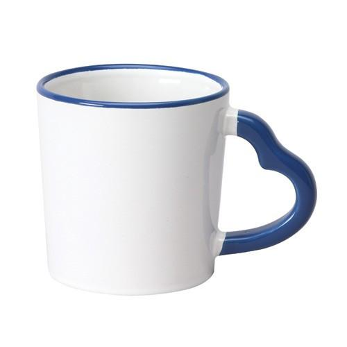 14 oz Heart Handle Coffee Ceramic Mugs (Color/ Halo),[wholesale],[Simply+Green Solutions]