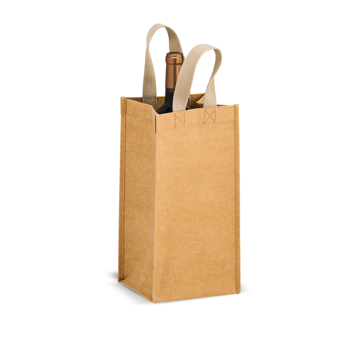 Blank Single Bottle Washable Kraft Paper Tote Bag - Tornado,[wholesale],[Simply+Green Solutions]