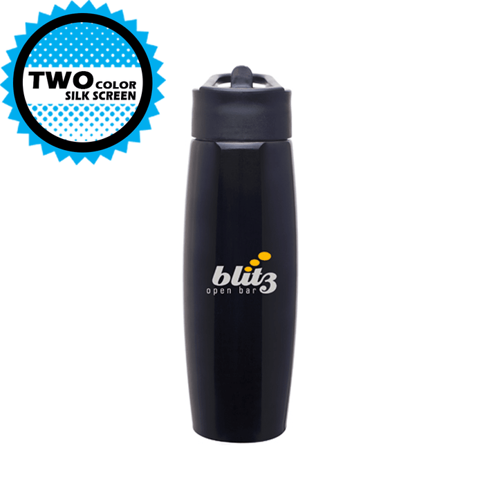 25oz Stainless Steel h2go Orbit Water Bottle with Flip-up Straw,[wholesale],[Simply+Green Solutions]