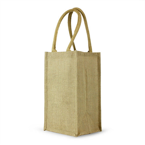 4 Bottle Jute Wine Bag with cotton webbed handles,[wholesale],[Simply+Green Solutions]