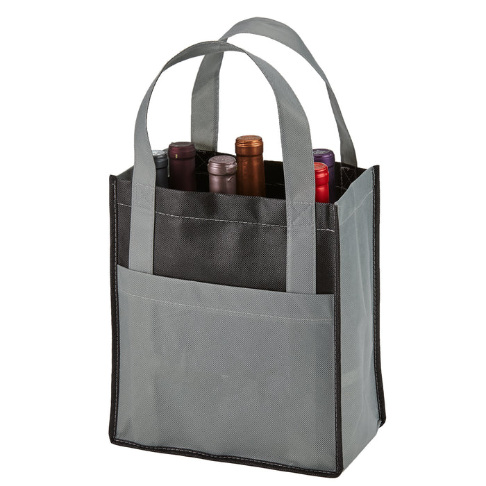 Six Bottle Non-Woven Wine Tote - Two tone w/outside pockets