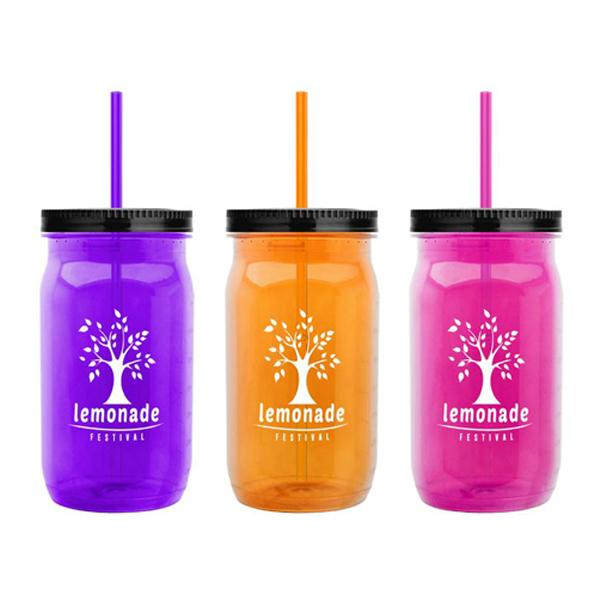 27 oz Tritan Mason Jar - Colors with Straw Lid ,[wholesale],[Simply+Green Solutions]