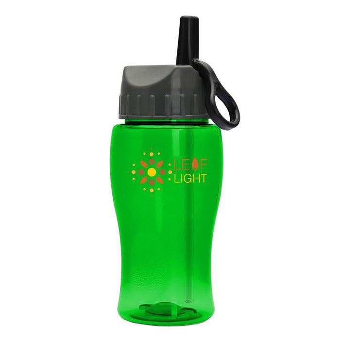 18 oz Transparent Bottle with Flip Straw Ring Lid (Pack of 200),[wholesale],[Simply+Green Solutions]