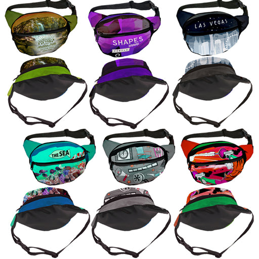 Fashion Full Color Black Panel Fanny Pack